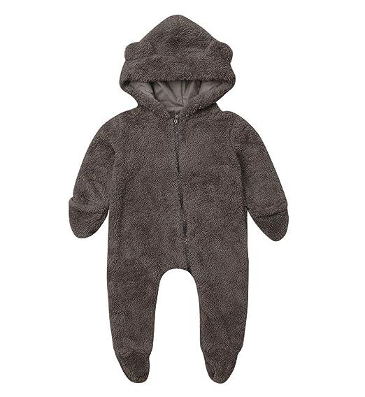 dbf2b2c33dacb Amazon.com: Newborn Baby Boys Girls Cartoon Bear Ears Warm Fleece Hooded  Romper Jumpsuit Winter Bodysuit Bath Robe Outfits: Clothing