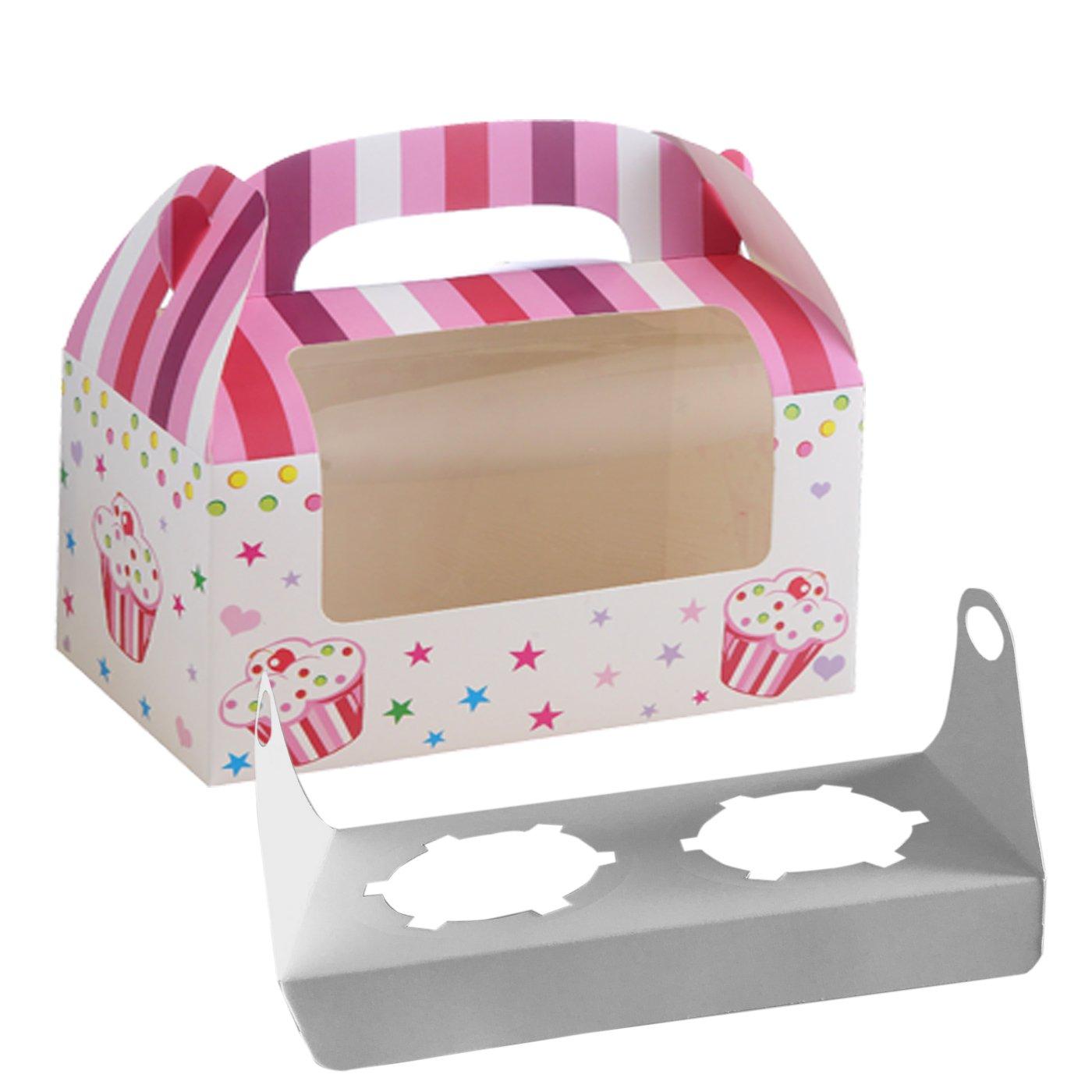 16 Cajas para Transportar 2 Magdalenas Decoradas, con Ventana y Asa para Decoracion de Boda Cake de Caja Plegable Diseño Niña Color Rosa cotigo