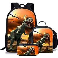 chaqlin Juego de 3 bolsas escolares para niños, mochila con bolsa de almuerzo, bolsa para lápices, animal, dinosaurio…