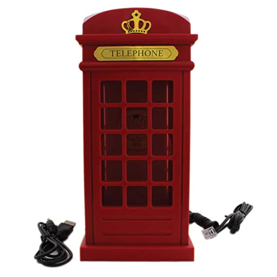 Tootpado Landline Phone Telephone London Phone Booth Shape   Red (ELEj032)    Office Phone