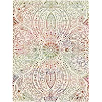 Bohemian Floral Medallion Motif Area Rug, All Over Pastel Exotic Mandala Theme, Rectangle Indoor Hallway Doorway Bedroom Dining Area Sofa Patio Carpet, Modern Emblems Style, Pink, Cream, Size 6 x 9