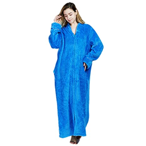 Women s Men s Full Length Dressing Gown Fleece Bath Robe Plus Size ... f920689fb
