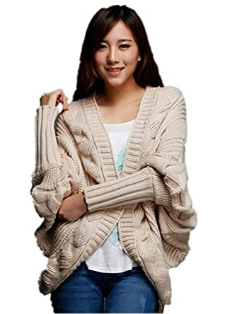d71e8de083a YGT Women Thick Loose Asym Hem Batwing Cable Knit Open Front Cardigan  Sweater