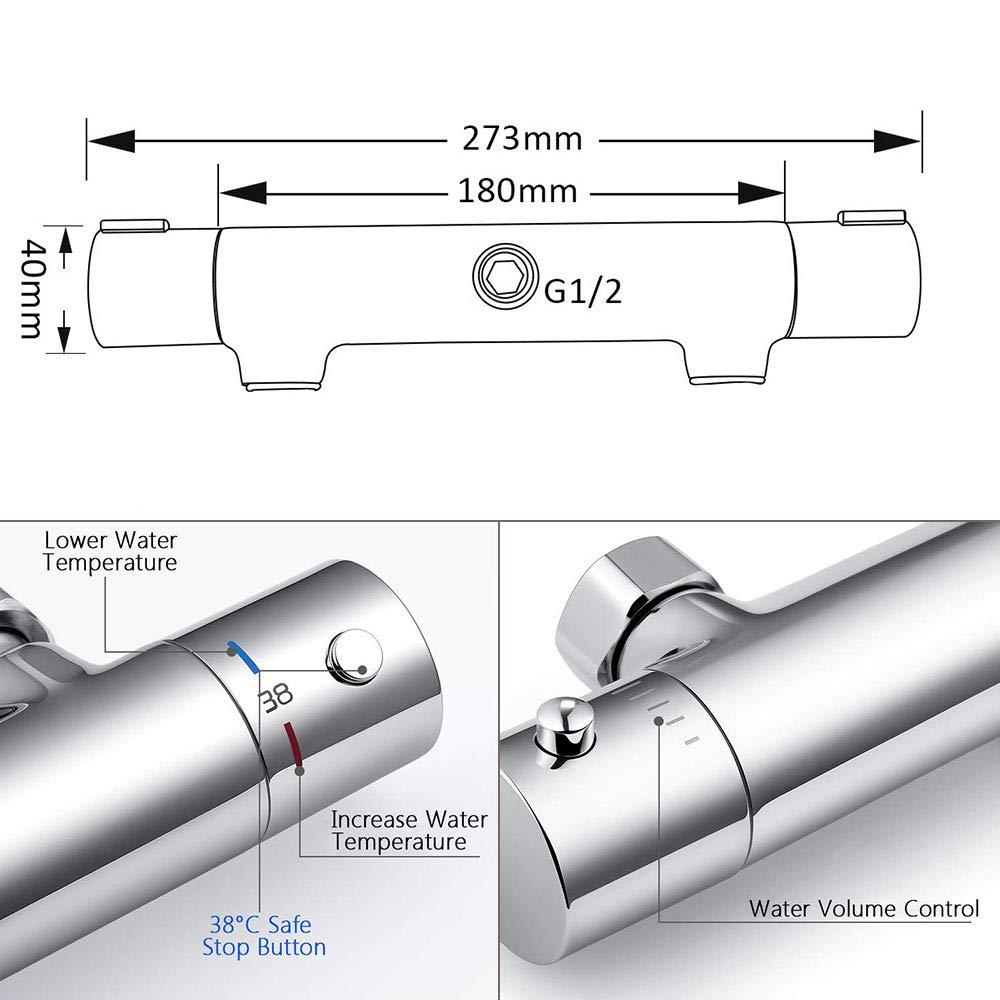 Modern Thermostatic Bar Shower Mixer Valve Anti Scald Exposed Thermostatic Shower Mixer
