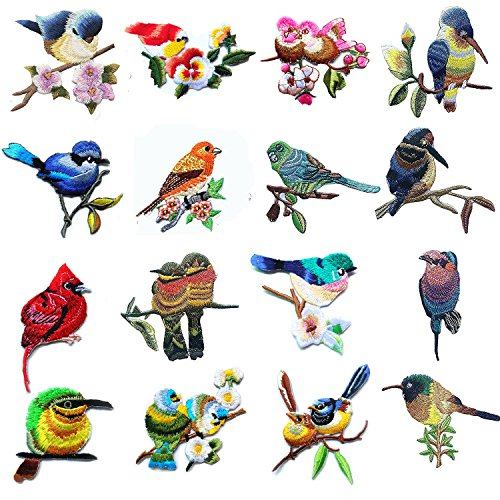 Bird Embroidered Iron - 16 Pcs Iron On Cute Embroidery Bird Patches Embroidered Motif Applique Glitter Embroidery Decoration DIY Sew on Patch for Jeans, Clothing (16 Pcs)