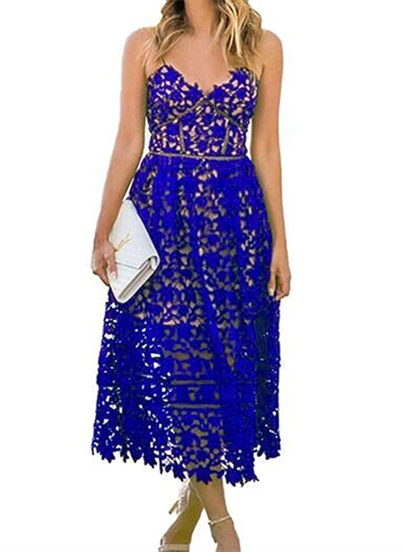 Sunny Women Strap V Neck Party Lace Midi Dress
