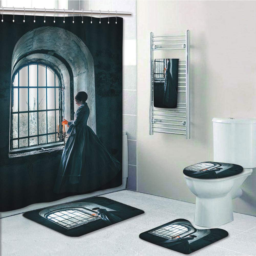 Bathroom 5 Piece Set shower curtain 3d print Multi Style,Medieval Decor,Woman with Victorian Dress in front of a Middle Age Style Window Gothic Dramatical Art Photo,Blue,Bath Mat,Bathroom Carpet Rug,N