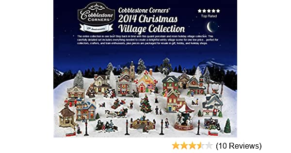amazoncom cobblestone corners collectibles 2014 christmas village 61 piece collection new in a box 15th anniversary home kitchen