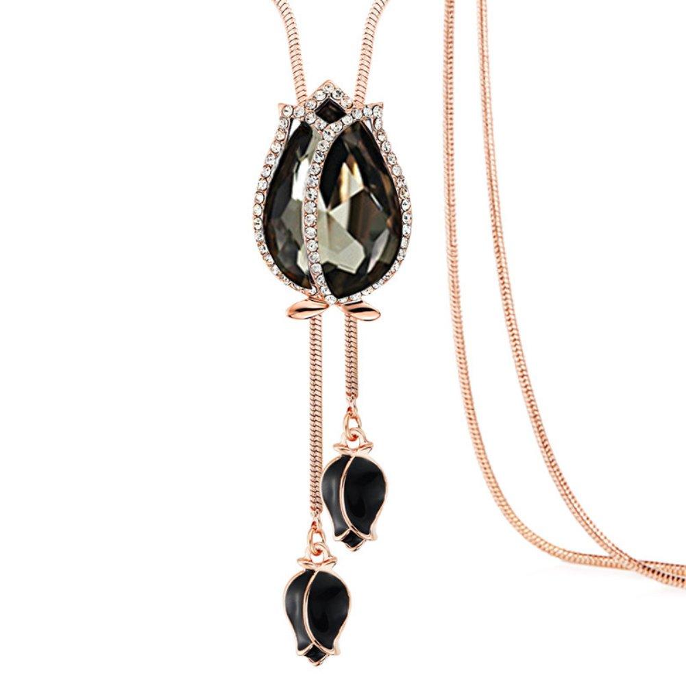 buyanputra Women Fashion Tulip Pendant Ornament Long Chain Necklace Fashion Charm Necklace