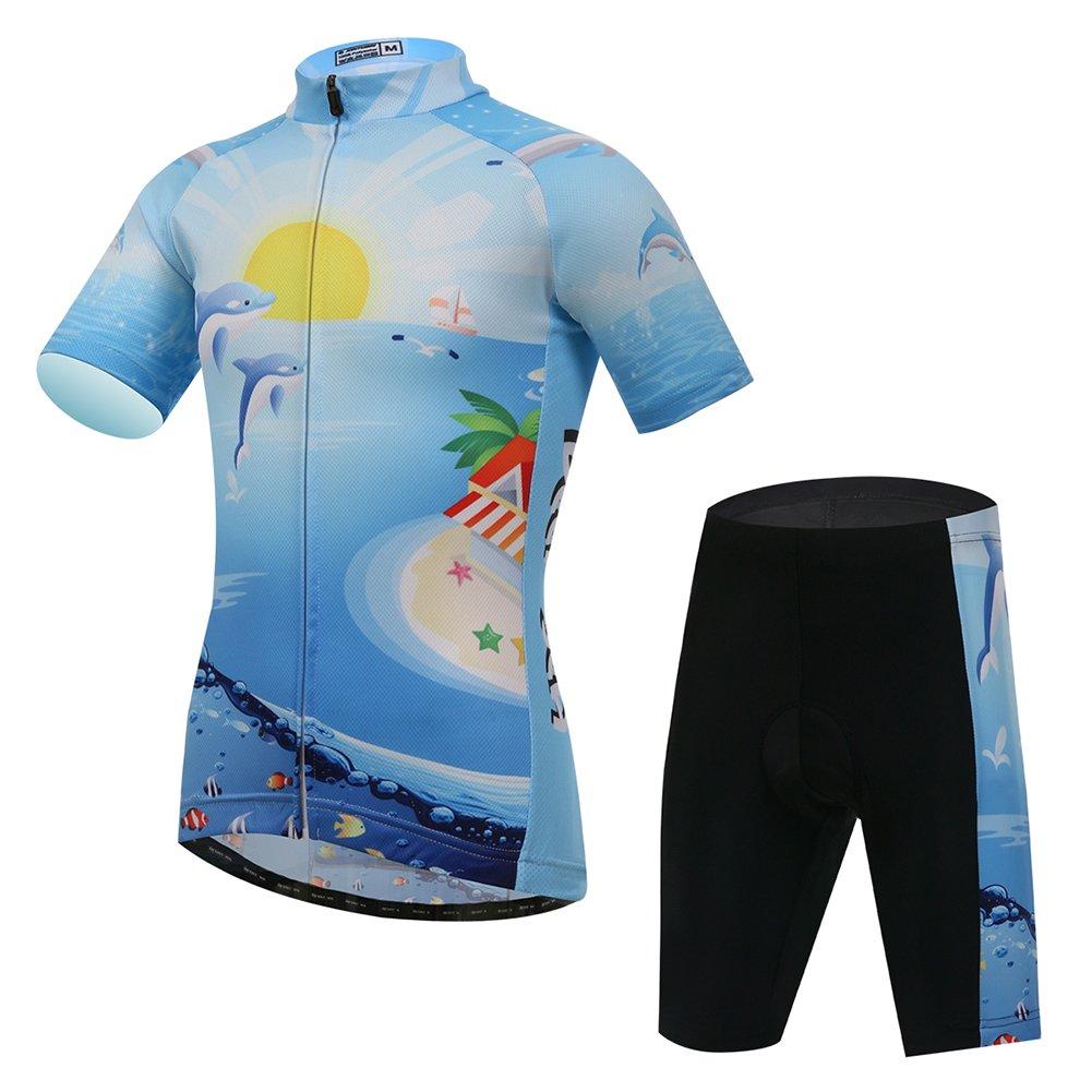 FREE FISHER Kids Boys' Girls' Short Sleeve Cartoon Cycling Jersey Set/Top/Short