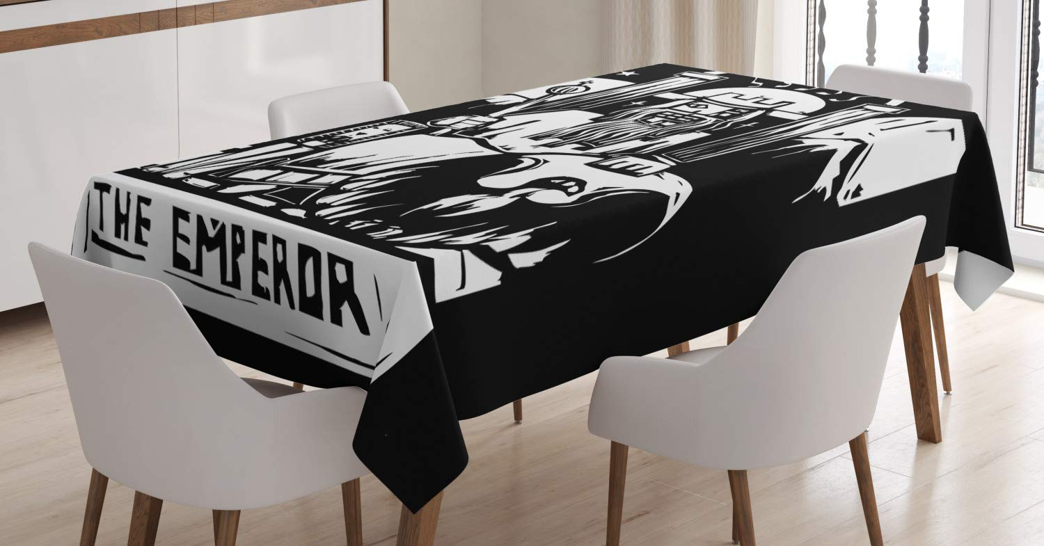 Ambesonne Tarot Tablecloth, Tarot Card for The Emperor Woodcut Style Illustration Monochromatic Artwork, Dining Room Kitchen Rectangular Table Cover, 60 W X 84 L Inches, Black and White
