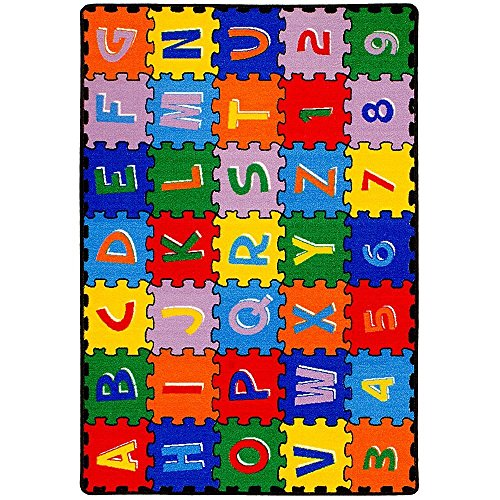 CR Kids / Baby Room / Daycare / Classroom / Playroom Area Rug ABC PUZZLE (A-Z AND 1-9) Educational Fun Play Mat Bright Colorful Vibrant Colors (8 Feet X 10 Feet) by Champion Rugs (Image #1)