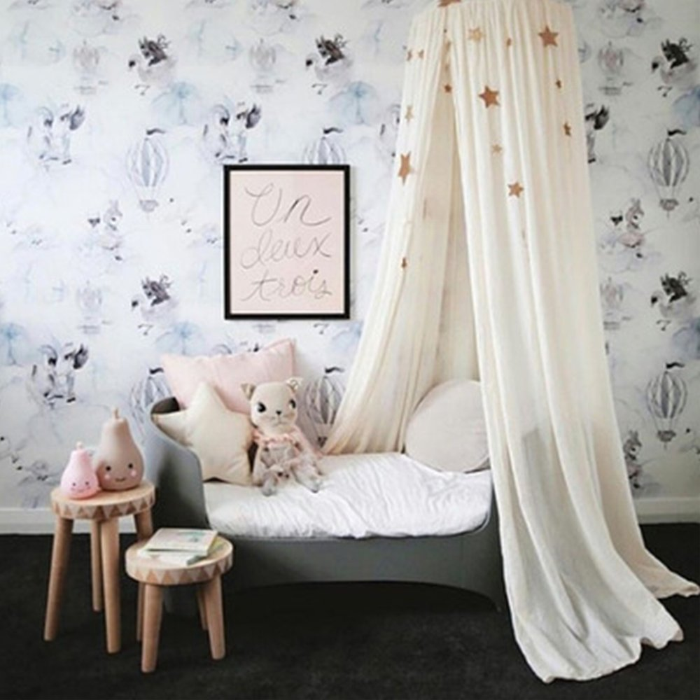 Quieting Children Bed Canopy Kids Baby Curtain Bed Cotton Round Dome Tent Grey QD