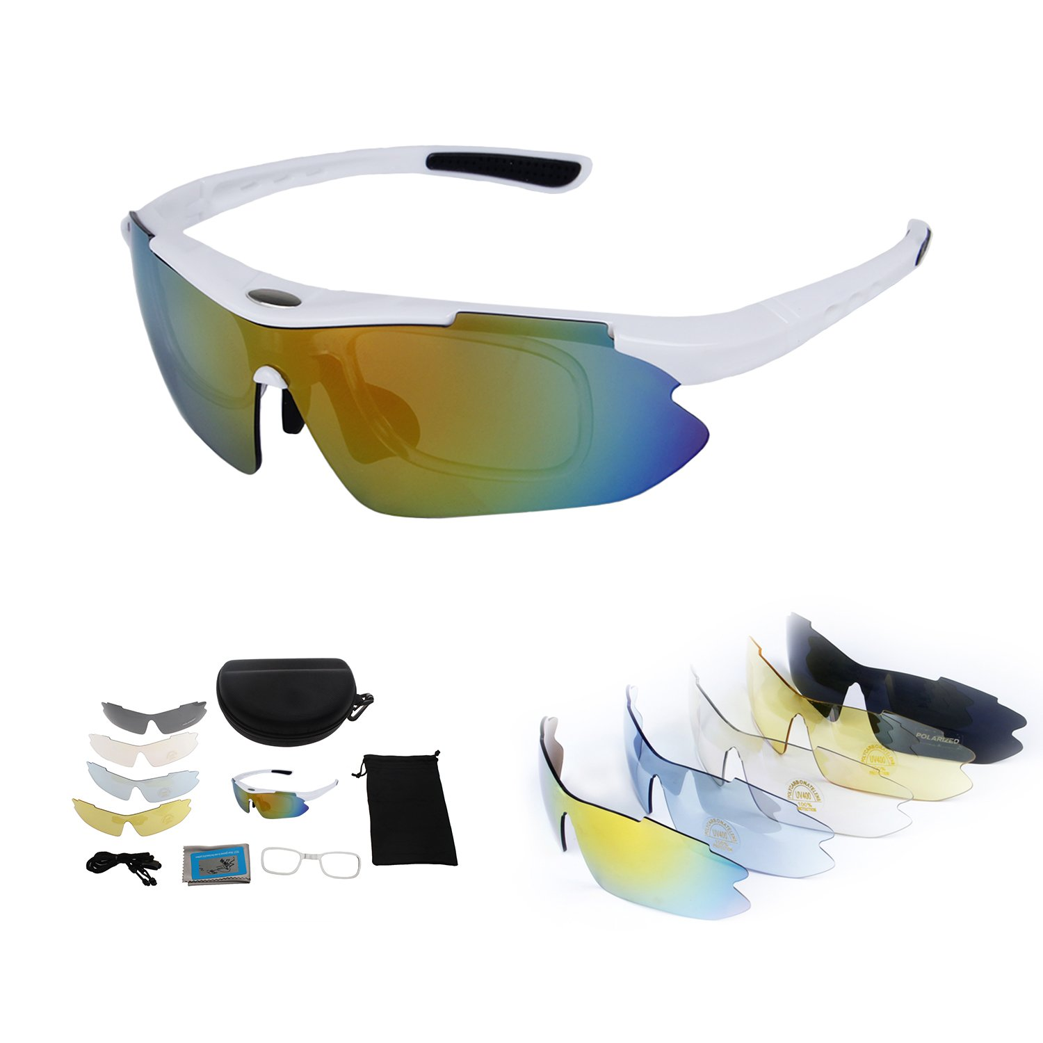 Polarized Sports Sunglasses with Tr90 Unbreakable Frame 5 Interchangeable Lenses by abaolux
