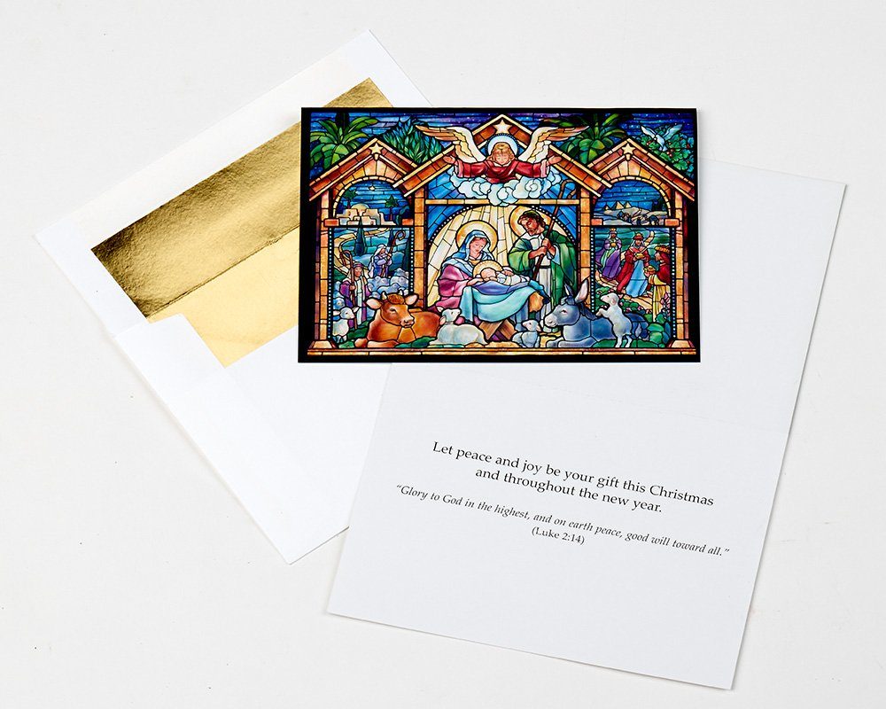 Amazon.com : Stained Glass Nativity Religious Christmas Cards - Box ...