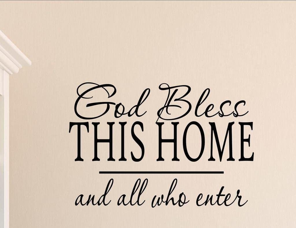 Vinyl Quote Me God Bless This Home and All who Enter Vinyl Wall Saying Quote Words Decal
