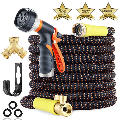 [Upgraded 2019] Garden Hose Expandable – Superior Strength 3750D | 4-Layers Latex | Extra-Strong Brass Connectors | 8-Way Durable Zinc Water Spray Nozzle, 2-Way Pocket Flexible Splitter (50 FT)