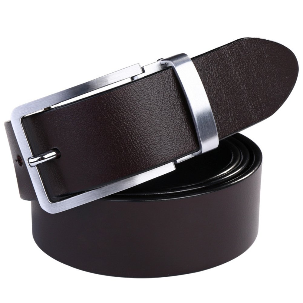 Mens leather belts/business casual youth belt-dark brown One Size