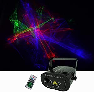 Sharelife Mini 4 Lens RGRB Hypnotic Aurora Laser Effect Mixed Blue LED Background Projector Light Remote Music Auto for DJ Party Show Home Gig Stage Lighting SL-A200RGB