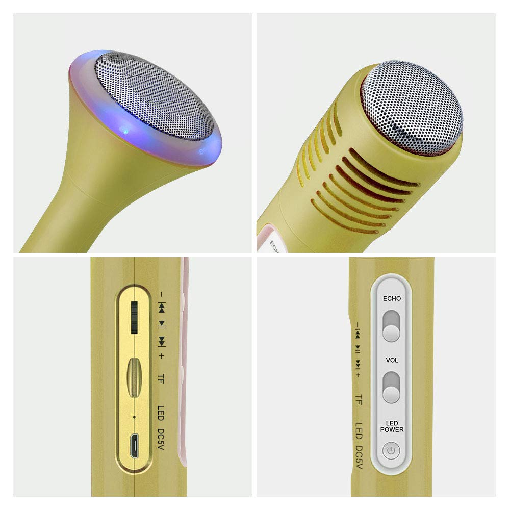 Fricon Birthday Gifts for Girls Age 3-12, Karaoke Machine for Girls Gifts for 3-12 Year Old Wireless Microphone System Bluetooth Microphone Karaoke Machine for Girls Age 3-12 Gold KMUSKM01 by Fricon (Image #4)