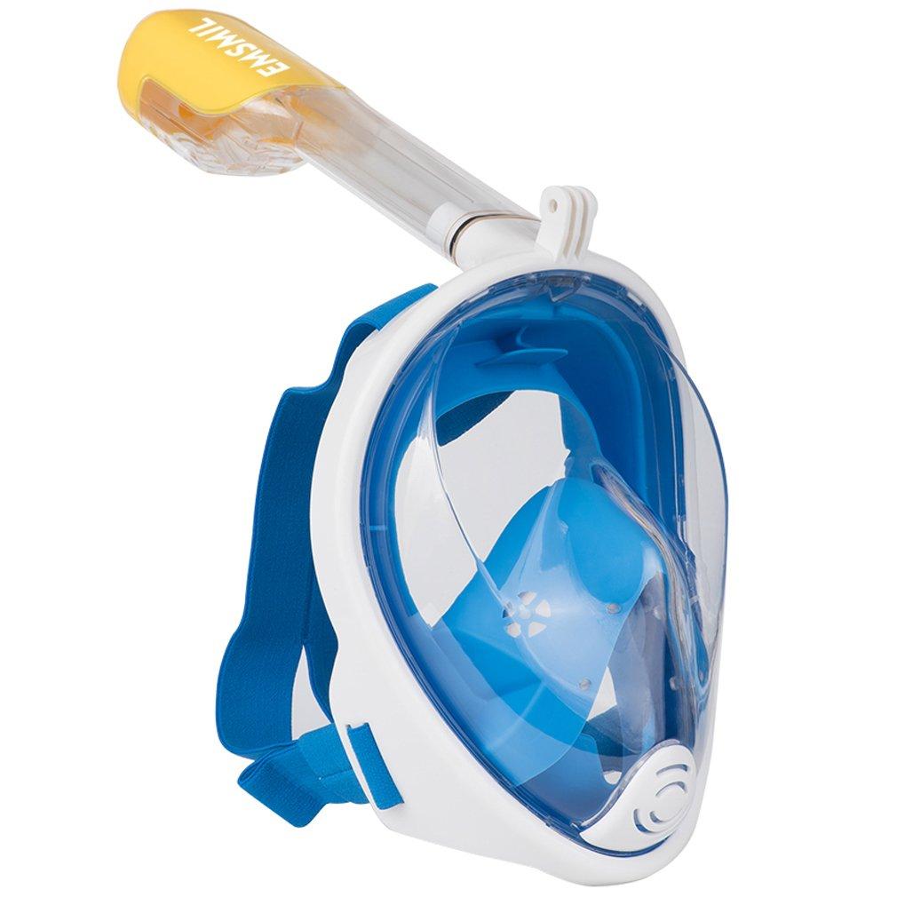 Emsmil 180° Wide View Snorkeling Maschera Pieno facciale Respirare Facile Senza Nuoto Snorkeling Design Anti-Fog e Anti-perdite Tecnologia con Tappi per Bambini e Adulti