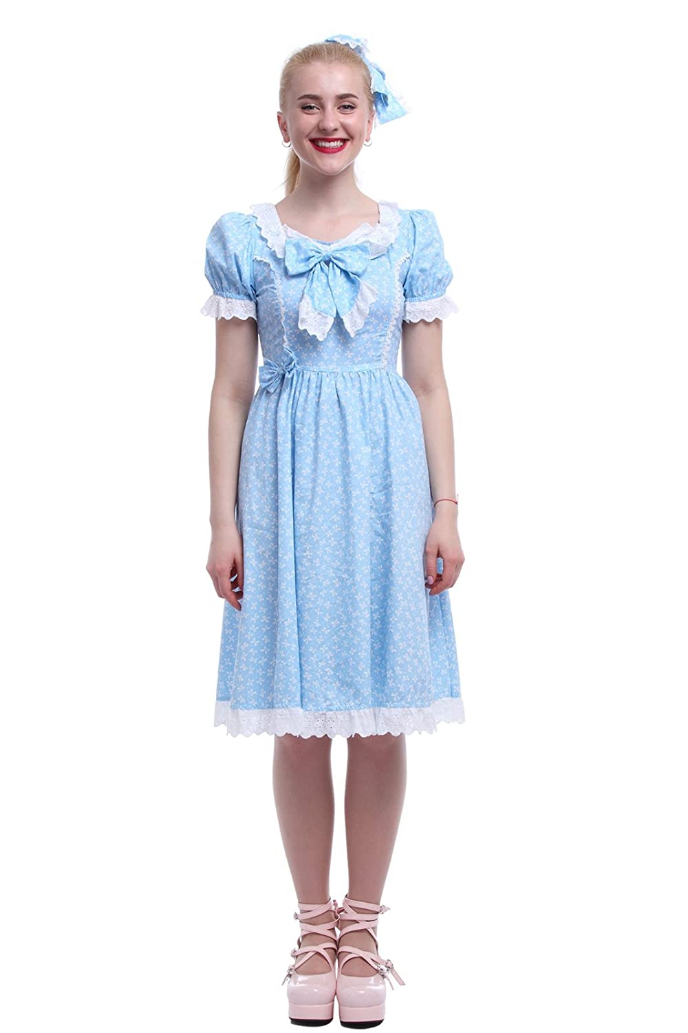 Victorian Kids Costumes & Shoes- Girls, Boys, Baby, Toddler Nuoqi Womens Sweet Lolita Dress Blue Cotton Bow Puff Skirts Costumes  AT vintagedancer.com