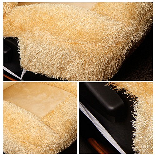 5 Pcs Universal Car Seat Cover Set Cushions Front Rear Coral Fleece Soft And Warm For Winter Driving (L, Beige) by AUTOPDR (Image #6)