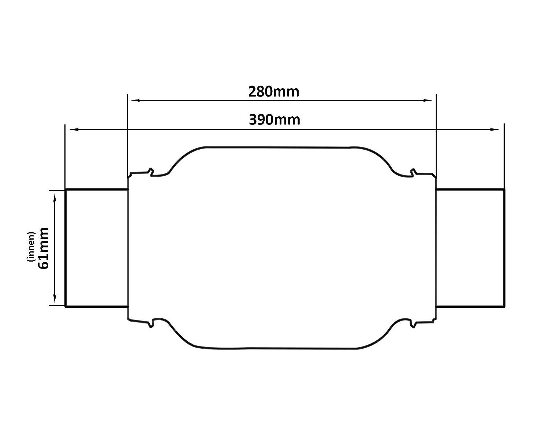 61 x 280 mm Universal Edelstahl Flexrohr inkl Montageschellen