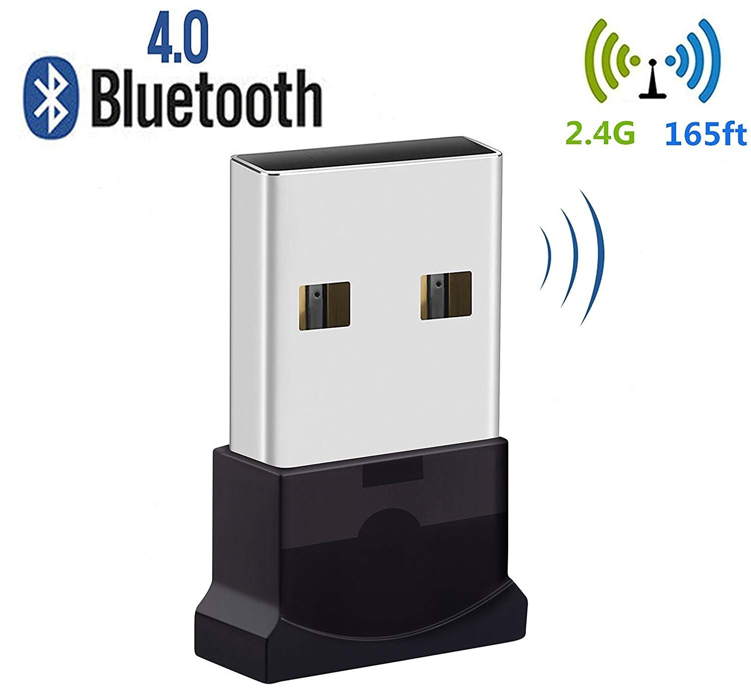 Bluetooth USB Adapter, Bluetooth 4.0 USB Dongle, Low Energy for PC, Wireless Dongle, for Stereo Music, Keyboard, Mouse, Support Windows 10 8.1 8 7 XP vista by JFen (Image #1)