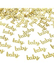 100 Pcs Baby Shower Confetti Gold Glitter Baby Gender Reveal Table Confetti for Baby Shower Gender Reveal Party Wedding Decorations by Yoridis