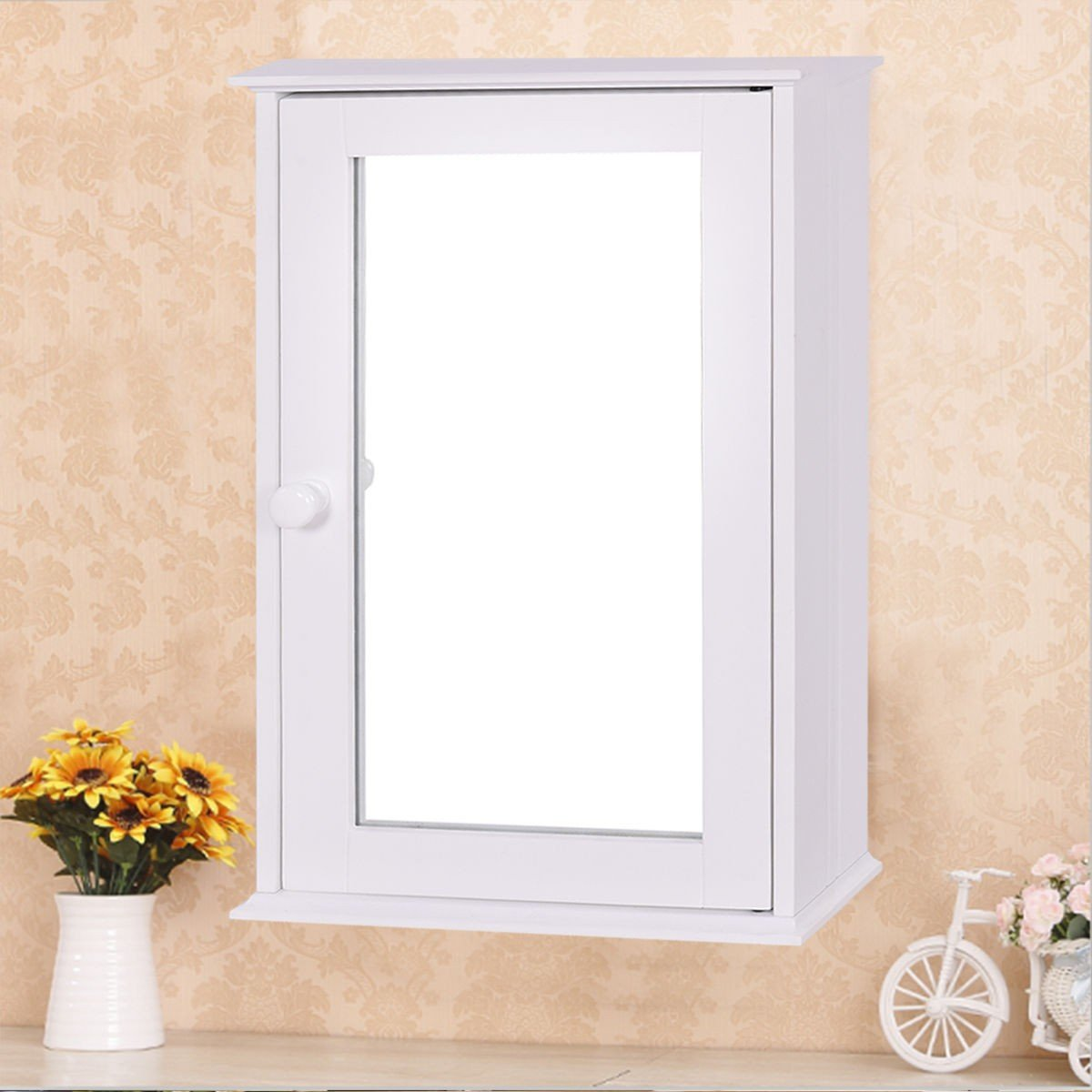 Bathroom Wall Cabinet with Single Mirror Door - By Choice Products