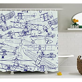airplane decor shower curtain set by ambesonne digital old airplane drawings classic aged dated flights