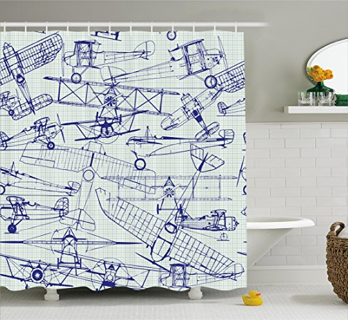 Airplane Decor Shower Curtain Set by Ambesonne, Digital Old