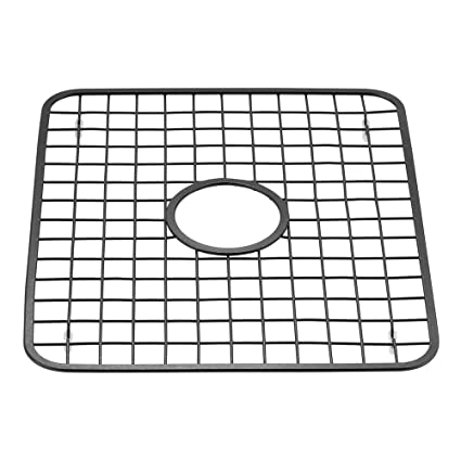 InterDesign Gia Kitchen Sink Protector - Wire Grid Mat with Center Drain  Hole, Matte Black