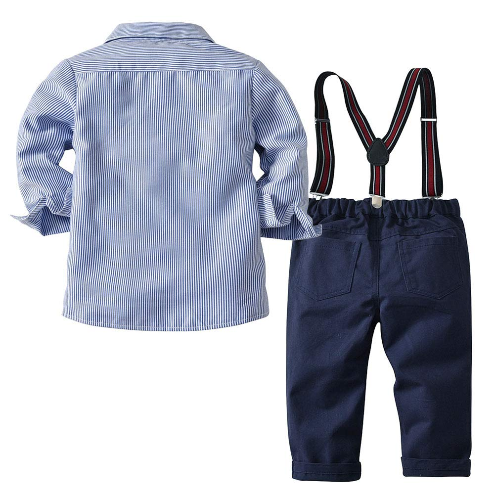 Baby Boy Long Sleeve Gentleman White Stripe Shirt and Pant Tuxedo Overall Formal Clothing Set LZ-TZ-900