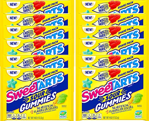 NEW SweeTARTS Sour Gummies Share Pack Endless Variety NON GMO Candy, No Artificial Flavors Or Colors Net Wt 4oz (1)