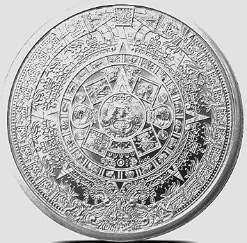 CALENDARIO Azteca / maya MONEDA DE PLATA FINA intrincado 1 troy oz ...