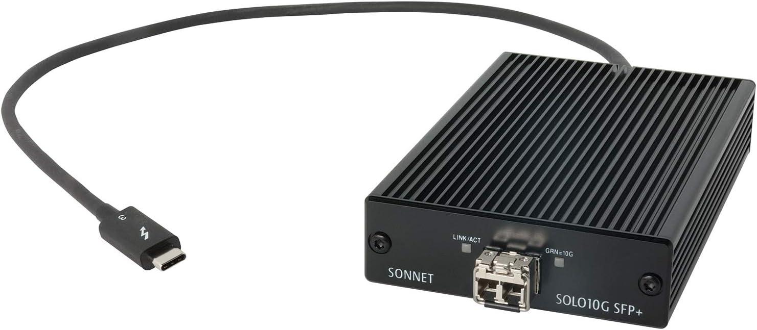 Sonnet Solo 10G Thunderbolt 3 to SFP+ 10 Gigabit Ethernet Adapter (SFP+ [SR] Included)