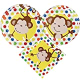 Jungle Monkey Party Packs (52 Pieces for 16 Guests), Colorful Party Tableware, Jungle Monkey Party Supplies, Birthday Decorations, Baby Showers Party Decorations