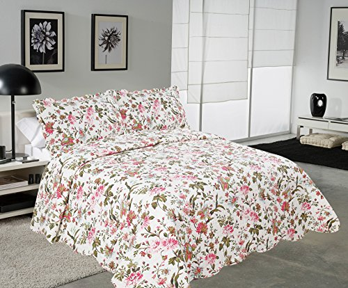 Shams Quilt Floral 2 (Mohap Reversible Quilt Set with 2 Shams Queen Size Hypoallergenic for All Season Pattern#10)