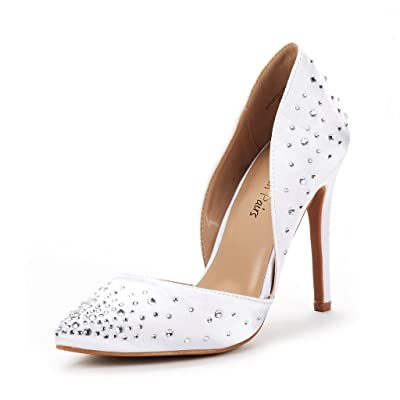 DREAM PAIRS Women's Oppointed Crystal White Dress Pump Stiletto Heel Shoes Size 5.5 B(M) US | Pumps