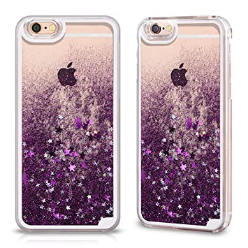 on sale 80330 cfe54 Transparent Liquid Purple Glitter Back Case for Apple iPhone 6