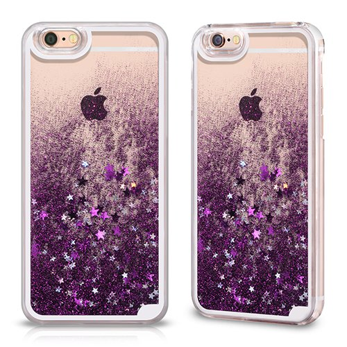 9 opinioni per Cover Back Case Trasparente con Glitter Porpora per Apple iPhone 6