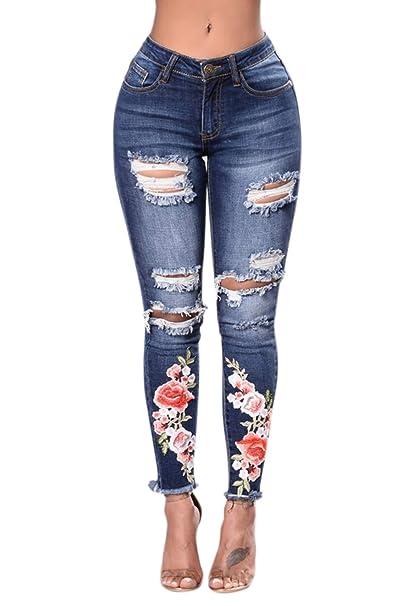 Zonsaoja Vaqueros Ajustados para Mujer Rotos Pantalones ...