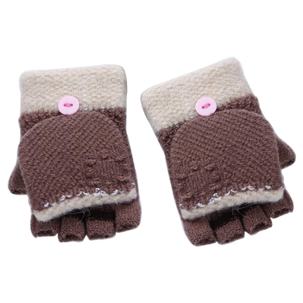 Vi.yo Half Finger Flip Glove Unisex Boys Girls Flip Top Gloves Winter Warm Gloves For 3-7 Years old