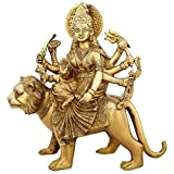 Shalinindia Brass Statue Goddess Durga Sitting Indian Home Décor,11 Inch,Weight-4.2 Kg