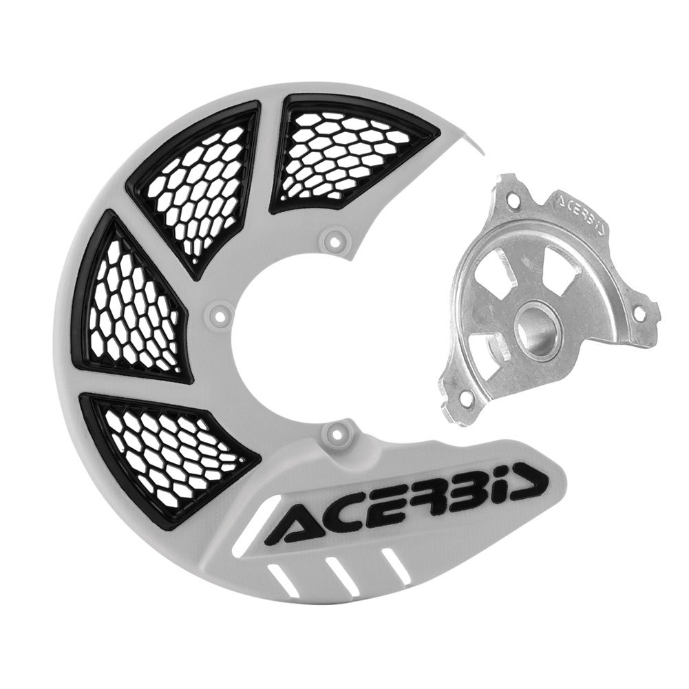 Acerbis X-Brake Vented Front Disc Cover with Mounting Kit White/Black – Fits: KTM 450 EXC-F Six Days 2017–2018