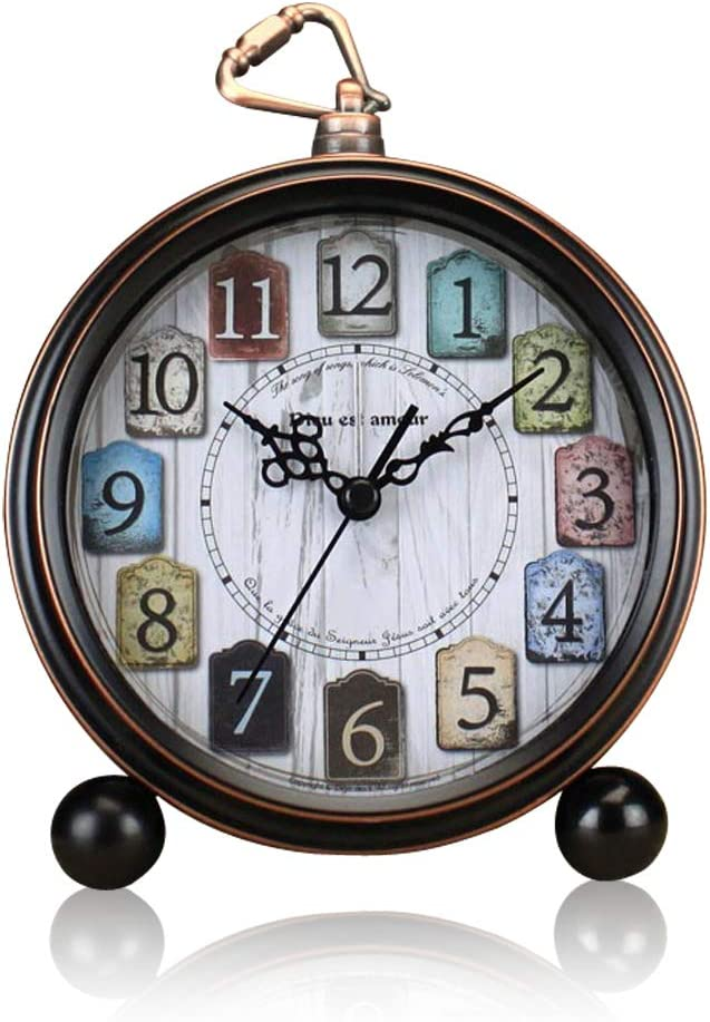 ALEENFOON Reloj despertador clásico retro de 5 pulgadas, sin tictac, de metal silencioso, antiguo, con estante de mesa, reloj de cuarzo, funciona con pilas, despertador para mesitas de noche