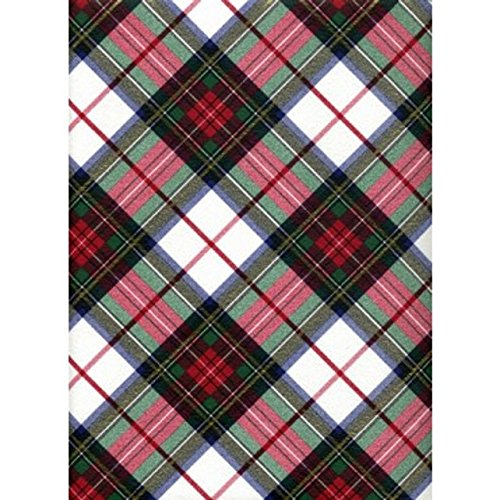 White Dress Tartan Plaid Heavy Embossed Christmas Gift Wrapping Paper -30