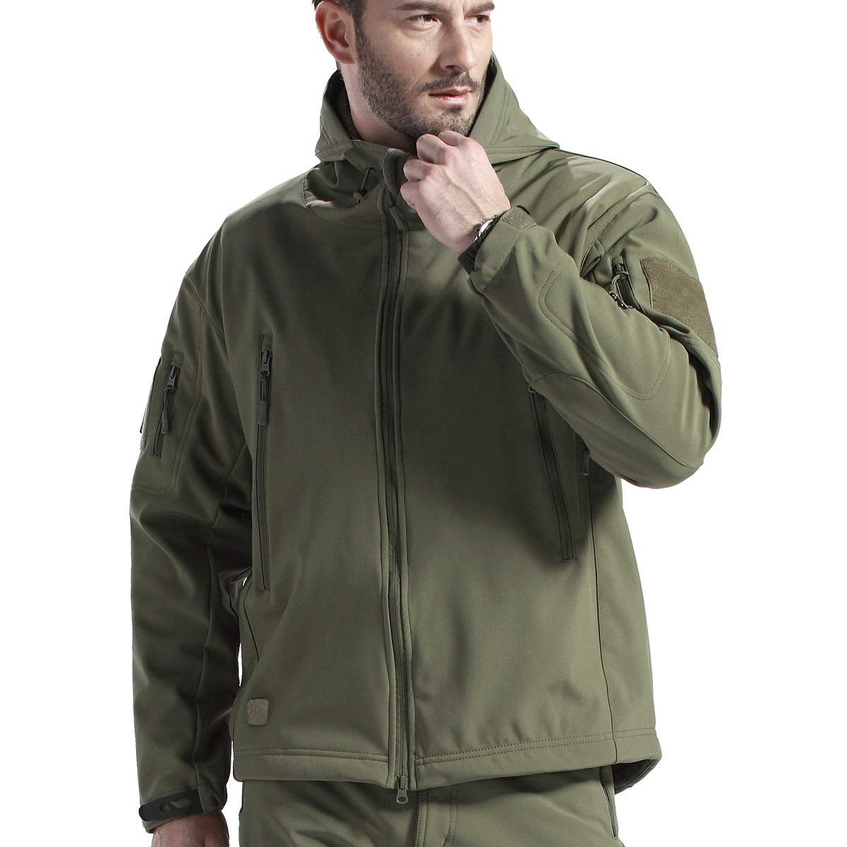 FREE SOLDIER Men's Fleece Lined Softshell Tactical Jacket Breathable Water Resistant Windproof Jacket Winter Snowboarding Skiing Hooded Jacket(Army Green XXX-Large/US) by FREE SOLDIER